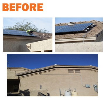 before - bad solar panel install