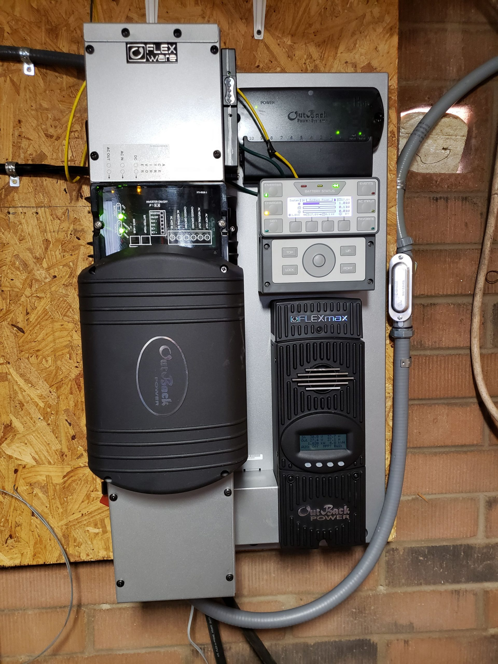 Outback FP1 inverter, FM80 charge controller, and Mate3s control panel