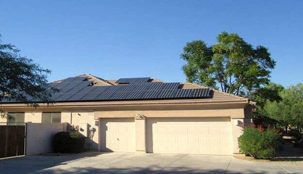 solar on roof over garage in Phoenix area home AZ