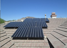PV Solar installed on residential roof